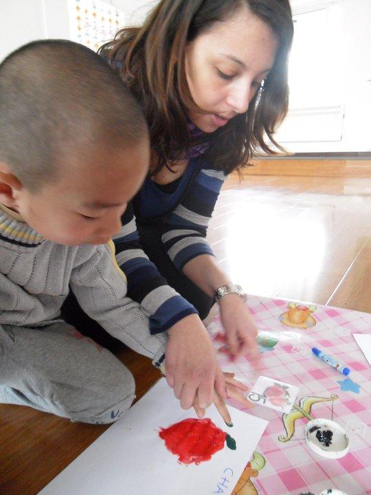 Lucia con bambino cinese