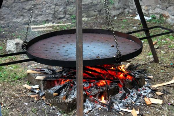 padella per cuocere caldarroste