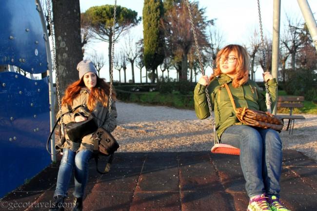altalene nei giardini della Rocca dei Papi