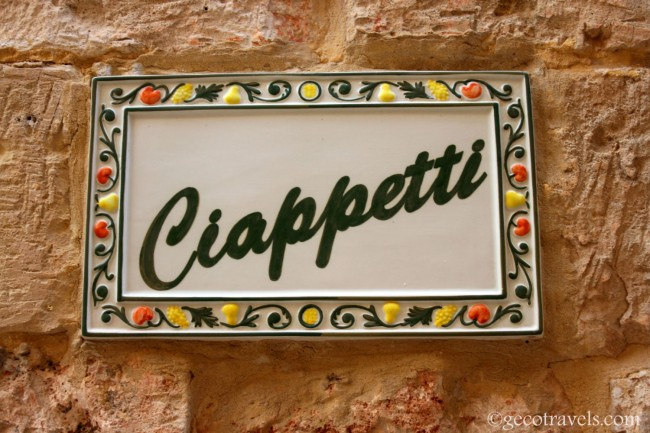 insegna Ciappetti restaurant