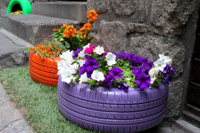 decorazioni con pneumatici riciclati