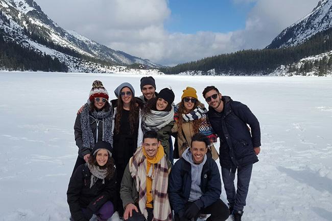 foto di gruppo sul lago ghiacciato