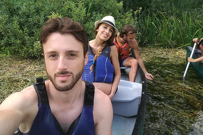 io e mio fratello in canoa sul Tirino