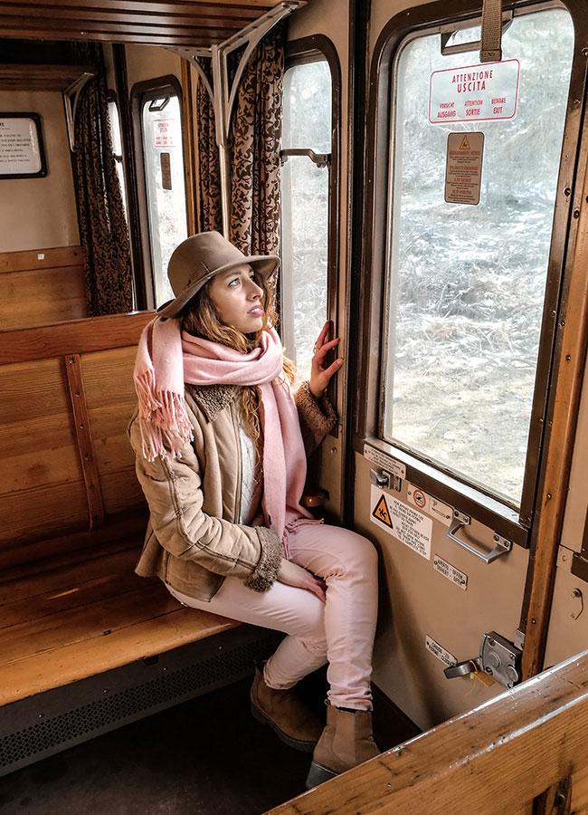 sul treno storico della Transiberiana d'Italia